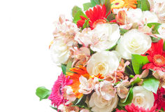 Bouquet of flowers. Close-up bouquet of different flowers isolated over white background Stock Photos