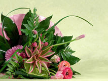 Bouquet of flowers. Beautiful fresh flowers combined in pink en green colors Stock Photography