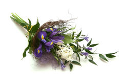 Bouquet of flowers. With irises and hyacinth Stock Images