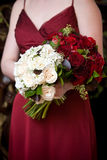 Bouquet of flowers. Bridal wedding bouquet of red and white flowers Royalty Free Stock Photo