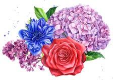 Bouquet of flowers, anemones, hydrangea, rose, lilac, watercolor botanical illustration