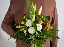 Bouquet of flowers. On the back Stock Image