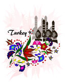 Bouquet of flowers on a background of minarets, Turkey stock illustration