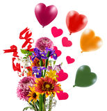 bouquet of flowers, balloons, hearts as a symbol of love and celebration Stock Images