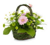 Bouquet of flowers in basket and butterfly Stock Photos