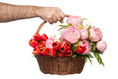 Bouquet Of Flowers In Basket Stock Image