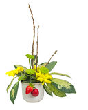 Bouquet from flowers, berries and pussy willows branches. Stock Images