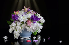 Bouquet of flowers on a black background Royalty Free Stock Photo