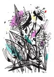 Black and white drawing of a bouquet with some color accents. Suitable for a poster, t-shirt print, postcard, poster, packaging de. Bouquet of flowers. Black and royalty free illustration