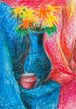 Bouquet of flowers in blue vase and red jar Royalty Free Stock Photo