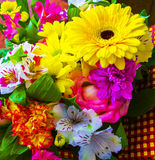 Bouquet of flowers. bouquet of flowers roses gerbera flowers car Stock Photography