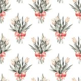 Bouquet. Flowers and bow. Seamless floral pattern 2. Hand drawn watercolor floral seamless pattern. Background with flowers Royalty Free Stock Photos