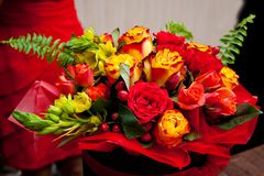 A bouquet of flowers is bright and beautiful for a girl stock photography