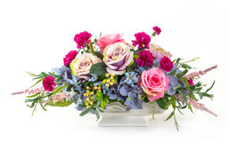 Bouquet of flowers in ceramic pot Stock Photography