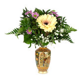 Bouquet of flowers in a Chinese vase Royalty Free Stock Image
