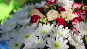 Bouquet of flowers. Chrysanthemums and roses in a bouquet stock video footage
