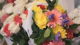 Bouquet of flowers from chrysanthemums and roses stock video