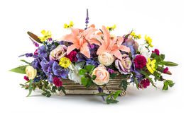 Bouquet of flowers in clay pot Royalty Free Stock Photography