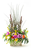 Bouquet of flowers in clay pot Stock Photos