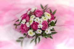 A bouquet of flowers on a colored background Stock Photo