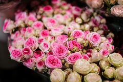 Bouquet of flowers consisting of pink and white roses. Beautiful bouquet of flowers consisting of bright pink and white roses in a flower shop Royalty Free Stock Images