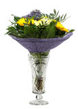 Bouquet of flowers in a crystal vase Stock Images
