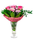 A bouquet of flowers in a crystal vase Royalty Free Stock Photos