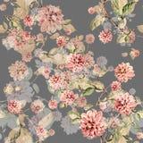 Bouquet flowers dahlia watercolor seamless pattern Stock Photo