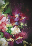 Bouquet flowers on dark background. In oil painting style,illustration Stock Photo