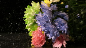 Bouquet of flowers falling onto wet black surface stock video