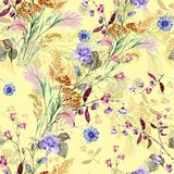 Bouquet flowers field of watercolor seamless pattern. Watercolor image beige background bouquet flowers field handmade seamless pattern Stock Image