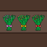 Bouquet flowers. Flat sketch design Stock Photo