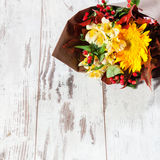 Bouquet flowers on floor Stock Images