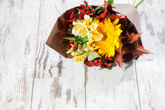 Bouquet flowers on floor Royalty Free Stock Images