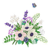 Bouquet of flowers and flying butterfly Royalty Free Stock Photo
