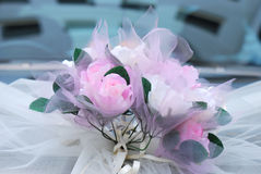 Bouquet Of Flowers. A bouquet of flowers at the front of a wedding car Royalty Free Stock Photos