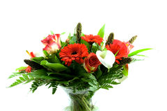 Bouquet of flowers in glass vas Stock Image