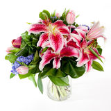 Bouquet of flowers in glass vase. Bouquet of lily flowers in glass vase Royalty Free Stock Images