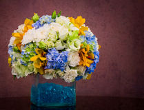 Bouquet of flowers in glass vase Royalty Free Stock Photos