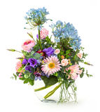 Bouquet of flowers in glass vase Stock Photo