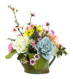 Bouquet of flowers in green watering pot Royalty Free Stock Photo