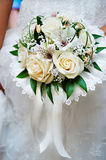 Bouquet of flowers in hand of bride Royalty Free Stock Photography