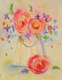 Bouquet Of Flowers. Hand-painted Watercolor with flowers Stock Photography