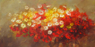 Bouquet of flowers, handmade painting. Bouquet of flowers, handmade oil painting on canvas Stock Photos