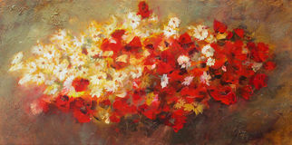 Bouquet of flowers, handmade painting. Bouquet of flowers, handmade oil painting on canvas Royalty Free Stock Images