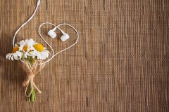 Bouquet of flowers and headphones in the form of a heart stock images