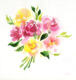 Bouquet of flowers isolated on white. Bouquet of roses in watercolor isolated on white Royalty Free Stock Photo