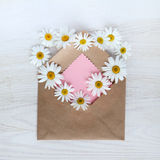Bouquet of flowers with love by mail Stock Photography