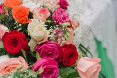 Bouquet of flowers. Multicolored roses. Bouquet of different flowers stock photos