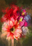 Bouquet flowers. In oil painting style,illustration Royalty Free Stock Photos
